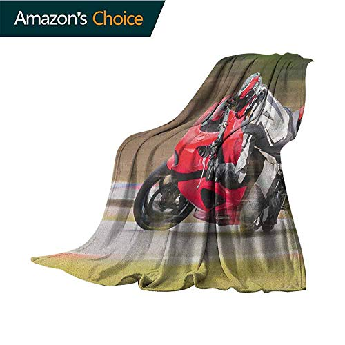 Teen Room Blankets Fleece Blanket Throw,Racing Motorcycle Athlete in Speed Turning on The Road Activity Colorful Picture All Season Light Weight Living Room/Bedroom,35