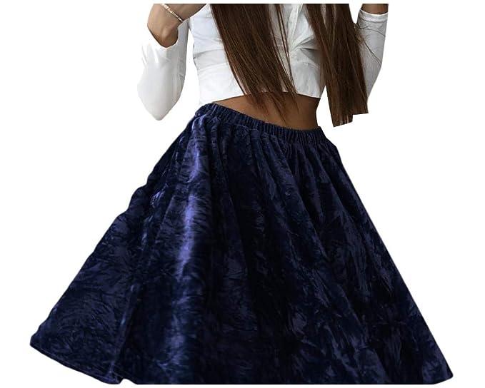 e0e165ba8 Andopa Women's High Waist Accordion Pleated Swing Soft Pleuche Mini Skirt  Blue XS