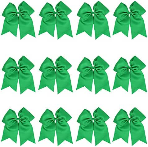 """6-12 Pcs 8"""" Jumbo Cheer Bows Ponytail Holder Cheerleading Bows Hair Tie More Colors Available"""