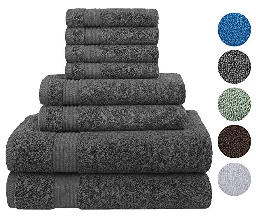 Cotton Paradise Ultra Soft 8 Piece Towel Set, 100% Combed Cotton Absorbent and Eco-Friendly - 2 Oversized Large Bath Towels 30x54, 2 Hand Towels 16x30, 4 Wash Cloths 13x13(Charcoal - Bath Set Betty Boop Towel