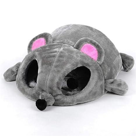 Wuwenw Cama De Gato Gris Forma De Ratón Pequeños Gatos Perros Cueva Cama Extraíble Amortiguador,