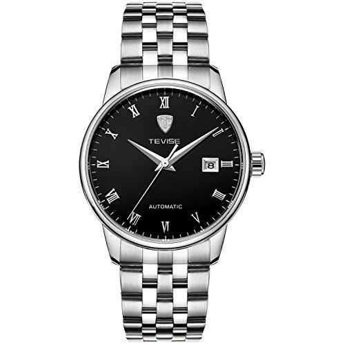 TEVISE Men's Fashion Dress Automatic Watch Thin Black Dial Silver Band