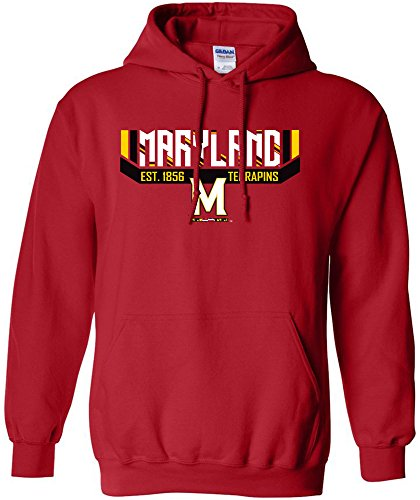 NCAA Maryland Terrapins Adult Unisex NCAA Bars & Stripes Hooded Sweatshirt,Small,Red