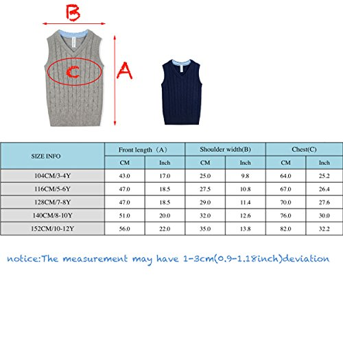 Benito & Benita Boys' Sweater Vest School V-Neck Uniforms Cotton Cable Knit Pullover Sweaters for Boys/Girls 3-12Y Navy by Benito & Benita (Image #6)