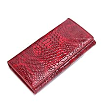 Contacts Genuine Patent Leather Snake Skin Embossed Long Wallet Card Holder Phone Pouch Purse Bifold
