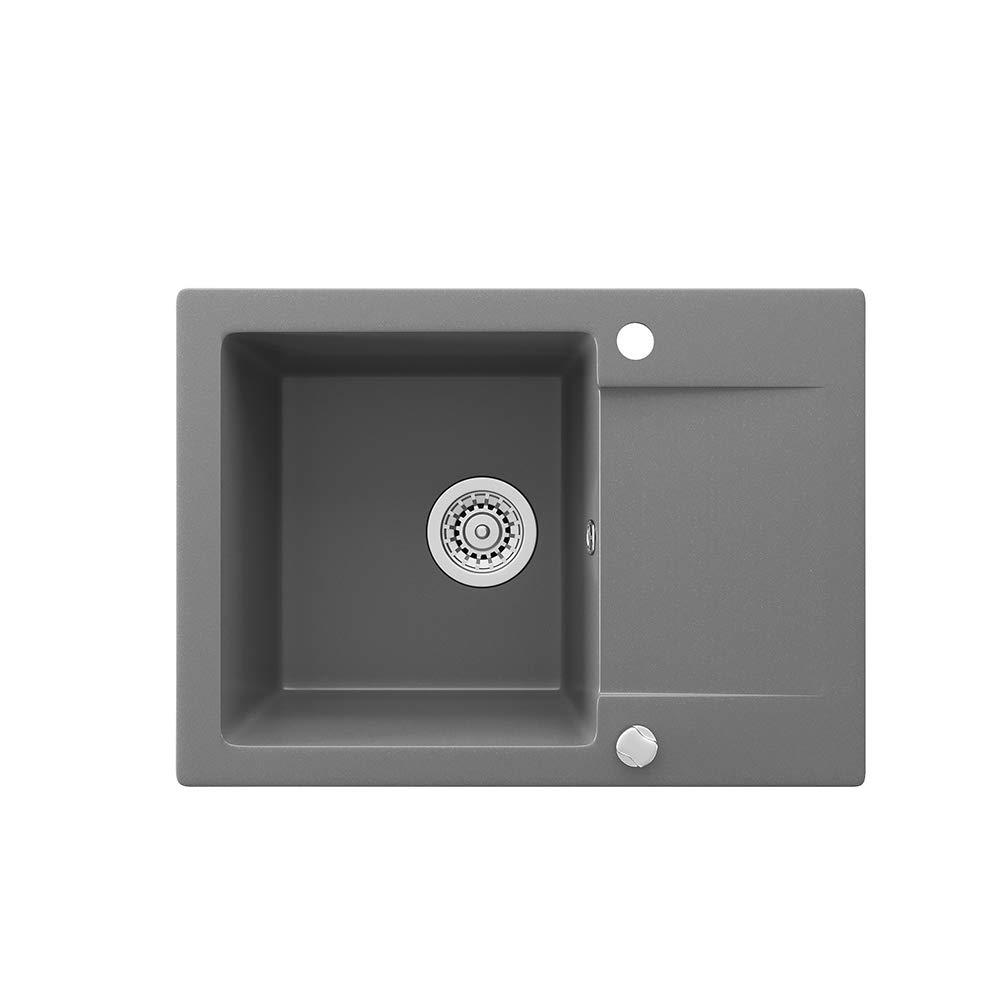Siphon Bergstr/öm Sp/üle K/üchensp/üle Einbausp/üle Sp/ülbecken Granit Grau 577x418mm Drehexcenter