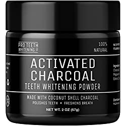 Activated Charcoal Natural Teeth Whitening Powder by Pro Teeth Whitening Co® | High Quality Grey Charcoal (non abrasive and proven safe for enamel) From Coconut Shells | Manufactured in England