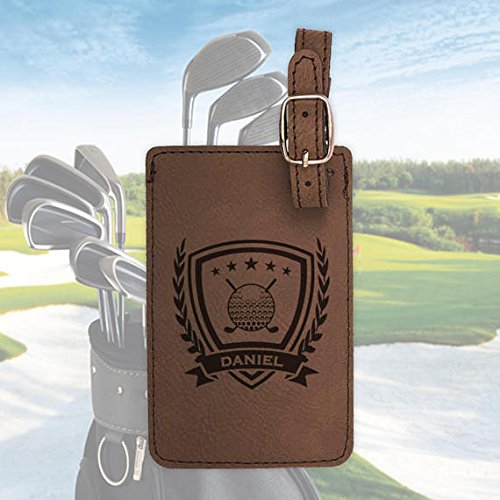 Personalized Golf bag tag, engraved golf luggage tag, leather luggage tag/Laser engraved with 3 color options (Golf Leather Luggage Tag)