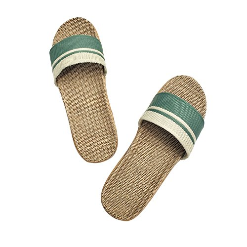 Flax Sandals Slippers Silent Cross 28 Women HRFEER Belt Floor Indoor Shoes Summer Slippers Sweat Home s for green gBBwxqpd