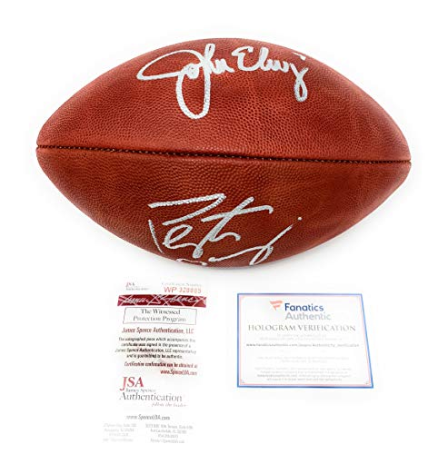 (Peyton Manning John Elway Denver Broncos DUAL Signed Autograph Authentic Duke NFL Football JSA Witnessed Fanatics Authentic Certified)