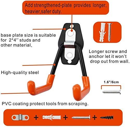 Easy to Install Wall Mount Heavy Duty Hangers for Organizing Large Power Tools Bikes Ropes Bulk Items Anti Slip Design Holding Ladders 12 Pack Steel Garage Storage Utility Double Hooks Chairs