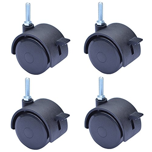 "MySit 2"" Caster, Swivel Stem Caster Wheel with Locking Brake, 1/4"" - 20 x 1"", Pack of 4 (CasterBrake50_6x25)"