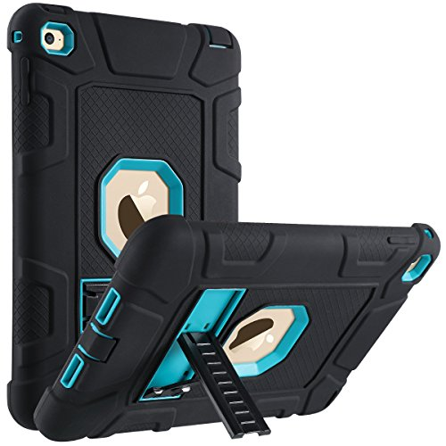 ULAK iPad Mini 4 Case, Hybrid Shockproof Kickstand Case Three Layer Heavy Duty Rugged Drop Proof Protective Bumper Cover for iPad Mini 4 7.9 inch 2015 Released (Aqua Blue/Black)