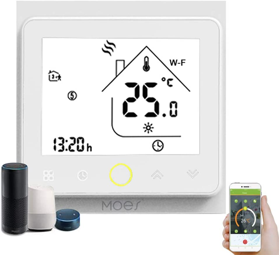 Decdeal - Termostato WiFi para caldera de Gas/Agua – Termostato Inteligente programable - Función de Control de Voz - Compatible con Alexa, Google Home - Corriente de carga 5A
