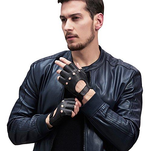 GSG Mens Gifts Fingerless Driving Gloves Motorcycle Gloves Half Finger Black Deerskin Perforated Knuckle 10