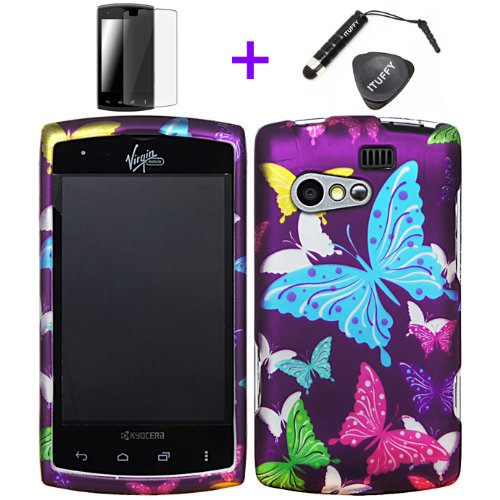 4 items Combo: ITUFFY LCD Screen Protector Film + Mini Stylus Pen + Case Opener + Purple Pink Green Yellow Blue Multi Color Butterfly Design Rubberized Snap on Hard Shell Cover Faceplate Skin Phone Case for KYOCERA RISE C5155 (SPRINT / VIRGIN MOBILE)