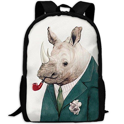 (Rhino In Teal Outdoor Casual Shoulders Multipurpose Backpack Fantasy Shoulder Bag School Backpack Travel Bags Laptop Backpack For Unisex)