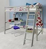 Cabin Bed High Sleeper with Desk in Silk Grey, Bunk Bed Thomas Noa & Nani