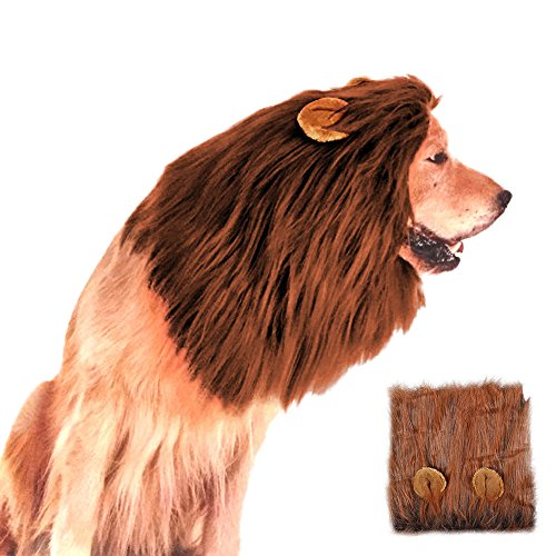 Zoolynaa Pet Dog Lion Wigs Mane Hair Party Fancy Medium/Large Sized Dog Costume Hat With Ears Dark Brown