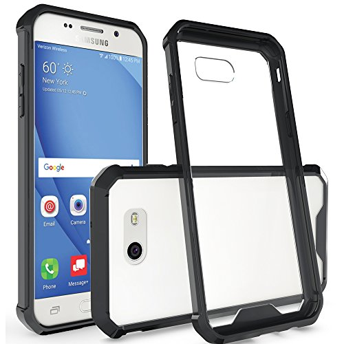 Galaxy J3 Emerge/ J3 2017/ J3 Prime/ j327 Case, Amagle Anti-Scratch Rigid Slim Transparent For Samsung Galaxy J3 2017 Clear Cover PC Panel / Bumper Frame [Clear Contrast] (Black)