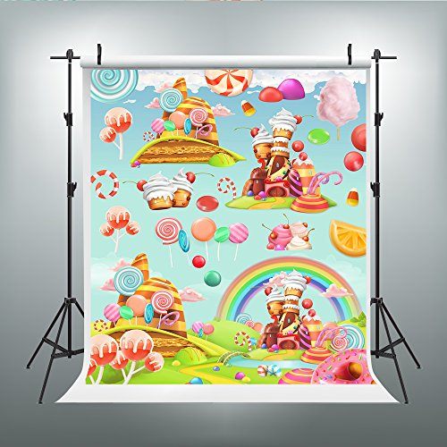 Maijoeyy 5x7ft Photography Backdrop Cartoon Backdrops Lollipop Backdrop for Pictures Rainbow Photography Props CK-536710852-D ()