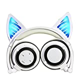 Cat Ear Headphones, DICEKOO Wireless Bluetooth Headset Flashing Glowing Cosplay Fancy LED Light USB Charger Earphone for iPhone 7/6s/iPad/Fire 7,Android Phone, Macbook (White)