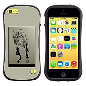 Be-Star Colorful Printed Design Anti-Shock Iface First Class Tpu Case Bumper Cover For Apple iPhone 5C ( wolf art pencil drawing wild dog modern ) Kimberly Kurzendoerfer