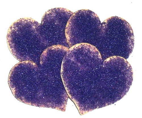 Scott's Cakes Heart Shaped Sugar Cookies with Purple Sugar in a 1 Pound Clear Cello Bag