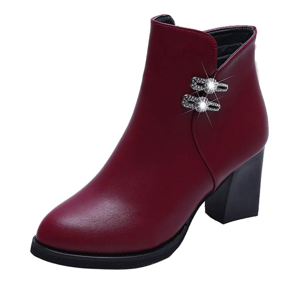 Mujer Botas Martin zapatos tacón alto, Sonnena ❤️ Botas de cuero de las mujeres de tacón alto con diamantes de imitación y cremallera Botas Zapatos casuales Martin Boots