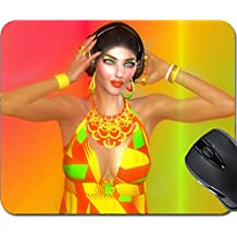 MSD Mousepad Mouse Pads/Mat design 24865990 Girl with headphones on gradient
