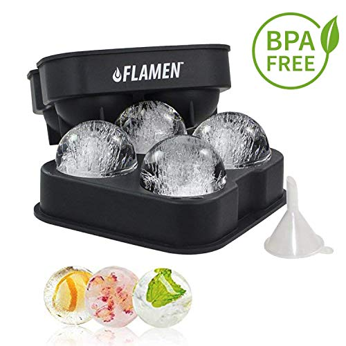 Flamen Easy-Release Flexible Ice Ball Maker Cube Maker Tray Molds with Funnel - Black Silicone Round Ice Ball Tray Spheres