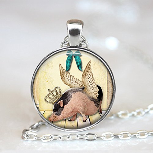 Pig Pendant, Winged Pig Pendant, Pig with Crown Necklace, Pig Key Ring, Earrings, Cuff Links, Bronze, Silver, Flying Pig Pendant Jewelry