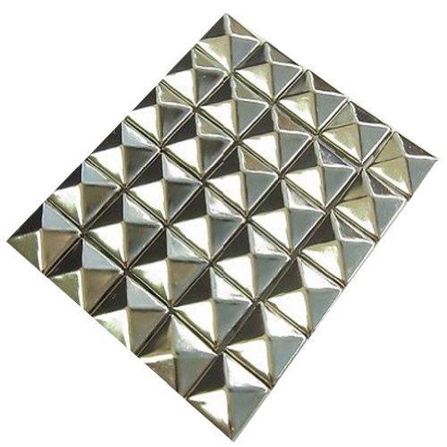 AutoM 100 PCS 10mm Leathercraft DIY Silver Metal Punk Spikes Spots Pyramid Studs - Layered Spike