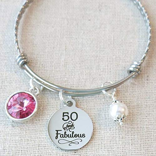 50th BIRTHDAY Gift For Her Milestone October Birthday Gifts Friend 50 And Fabulous Bangle Bracelet Mom Sister