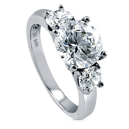 BERRICLE Rhodium Plated Sterling Silver Round Cut Cubic Zirconia CZ 3-Stone Engagement Ring Size - Engagement Cz 3 Stone Ring