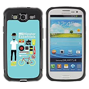 Hybrid Anti-Shock Defend Case for Samsung Galaxy S3 / Cool Hipster Essentials Kit wangjiang maoyi