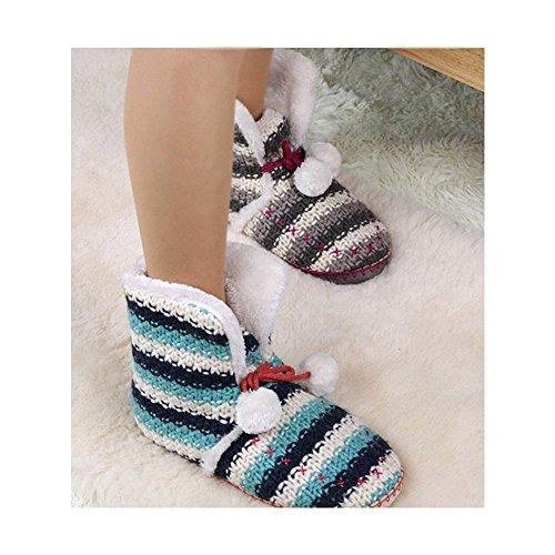 Coface Dameshuis Slipper Boots Winter Indoor Schoenen Namaakbont Gevoerd Met Pom Poms Grijs
