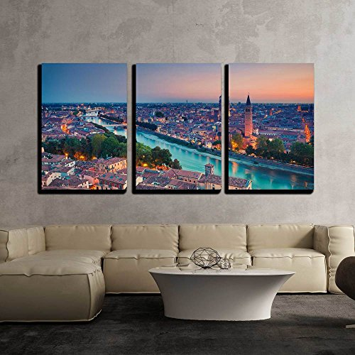 wall26 - 3 Piece Canvas Wall Art - Verona. Image of Verona, Italy During Summer Sunset. - Modern Home Decor Stretched and Framed Ready to Hang - 24