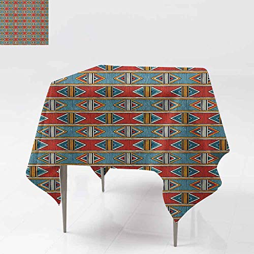 AndyTours Waterproof Table Cover,Kente Pattern,Tribal Traditional Triangles and Stripes Indigenous Native Cultural Heritage,Party Decorations Table Cover Cloth,70x70 Inch Multicolor