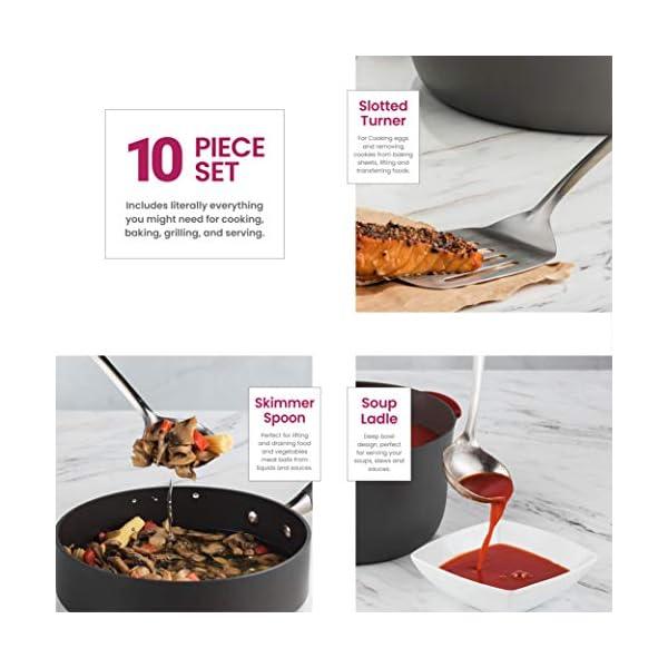 Stainless Steel Kitchen Utensil Set - 10 piece premium Non-Stick & Heat Resistant Kitchen Gadgets, Turner, Spaghetti… 3