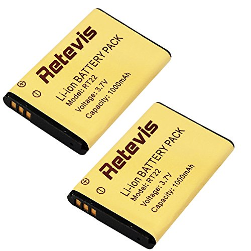 Retevis RT22 Walkie Talkie Battery Original Li-ion Battery 3.7V 1000mAh for Retevis RT22 WLN KD-C1 Two Way Radio(2 Pack) by Retevis