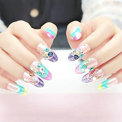 EchiQ 3D gemas coloridas francés falsas uñas puntas transparente morado rosa brillante purpurina cubierta completa acrílico