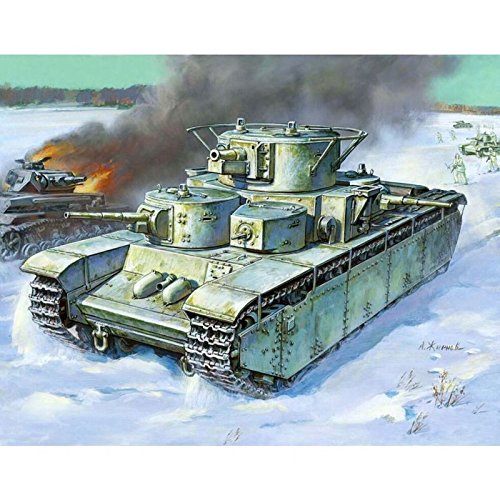Reconnaissance Tank (World War II 1/35 Scale T-35 Soviet Union Heavy Tank Plastic Model Figure Collection Red Army Ground Force Reconnaissance Unit Soldier 2 Zvezda)