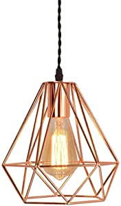Mopoq Vintage Industrial Pendant Rose Gold Pyramid Metal Cage Light Wiring 1-Light Ceiling Lamp Loft Rustic Home Decor