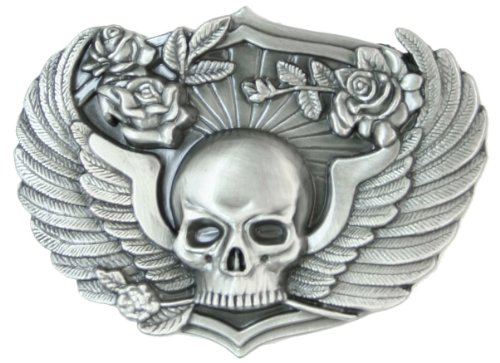 Skull & Wings Antiqued Belt Buckle