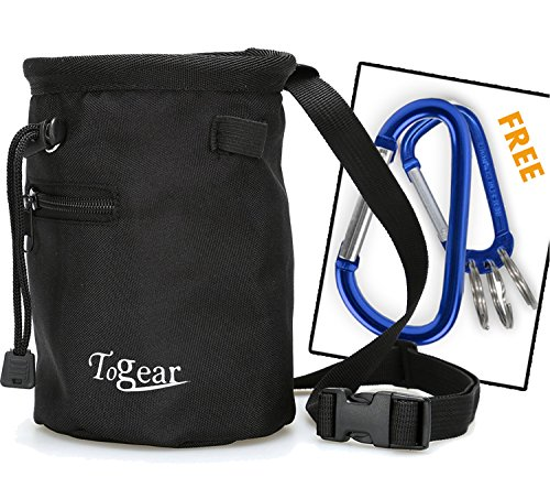 Togear Chalk Bag for Rock Climbing, Weightlifting, Bouldering & Gymnastics Workout Accessories, Quick-Clip Belt with Two Aluminium Carabiner Key Chain Clip Hooks (Black-1)