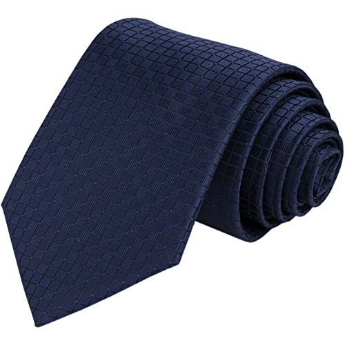 KissTies Navy Tie Check Necktie Formal Ties + Gift Box