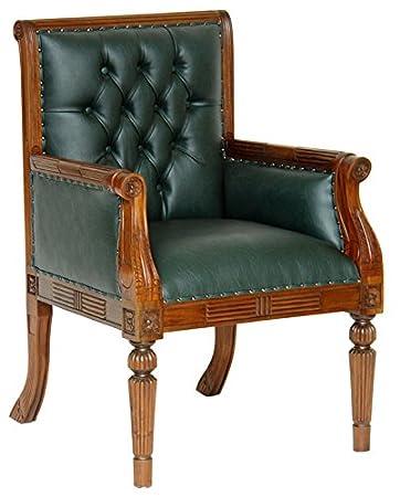 Moreko Chestefield Stuhl Antik Stil Sessel Massiv Holz Mahagoni