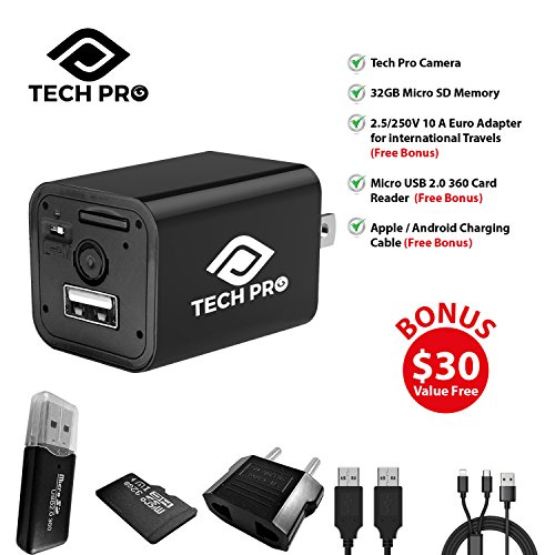 e5491529f6 Tech Pro Hidden Spy Camera - 32 GB Included - 1080P HD Nanny Camera - Baby