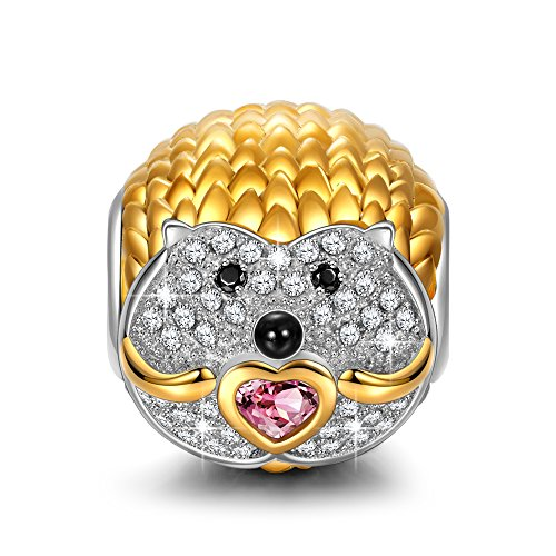 NinaQueen Shy Hedgehog 925 Sterling Silver Cubic-Zirconia Gold Plated Happy Family Animal Charms for Pandöra Bracelets Necklace Birthday Anniversary Christmas Gifts For Women Wife Teen Girls Daughter -